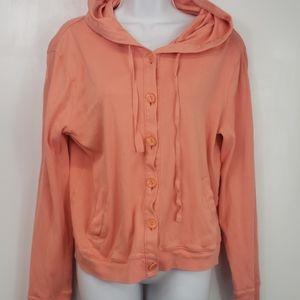 Garnet Hill button up coral light sweatshirt sz M